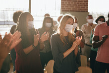 Business Party In New Normal With Crowded People Wearing Masks