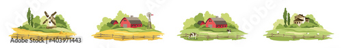 Fototapeta Set of village landscapes. Vector illustration, fields and meadows with cows, lambs, mill and farm houses. obraz