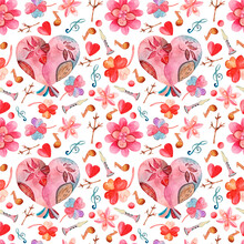 Watercolor Seamless Pattern With Cute Birds, Flowers, Musical Notes, Spring, Summer Cute Details.For Paper Design,cards For Valentine's Day, Spring Holidays,hand-drawn In Watercolor, White Background