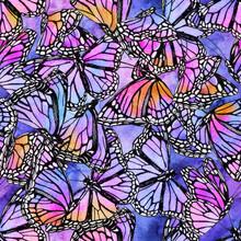 Beautiful Watercolor Butterflies On Galaxy Background.