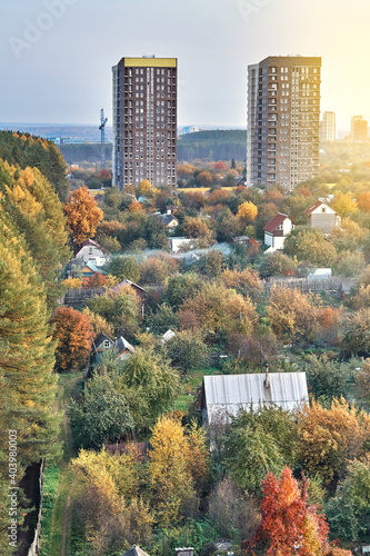 Canvas Print Contemporary highrise city dwelling buildings annex territory of neat summer cot