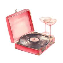 Watercolor Retro Vinyl Player And Wine Glasses. Romantic Valentines Day Illustration.