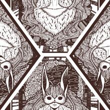 Moon Bunny Seamless Surface Pattern Design