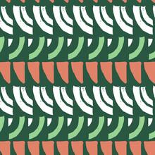 Lite Green And Orange Woodblock Vintage Hatching Modern Arrangement Pattern With Geometric Oriental On White.