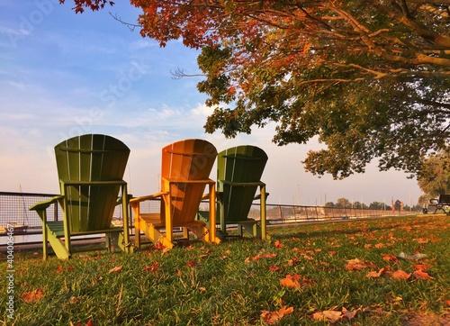 Billede på lærred Built Structure On Field Against Sky During Autumn