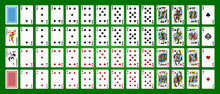 Poker Set With Isolated Cards On Green Background. Poker Playing Cards, Full Deck.