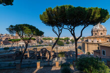 View From The Campidoglio Viewpoint Of The Forum Of Caesar Of The Forum Of Trajan, The Ancient Ruins Of The Roman Empire, The Forum Of Augustus And The Medieval Tower Of The Militia. Rome, Lazio Italy