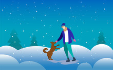 Winter Snow Background. A Man Stroking A Dog On The Street. Snow Is Falling. In The Background Of The Christmas Tree.
