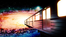 Moon Train Station To Orion Galaxy While People Dance In The Train Station Trippy Beautiful  Colorful Hypnotizing Universe