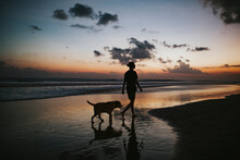 Man Walking His Dog At The Beach During The Sunset.