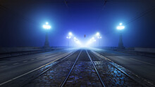 Tramway Track And Asphalt Road (highway) Through The Illuminated Empty Stone Bridge In A Thick Fog At Night. Lanterns Close-up. Daugava River, Riga, Latvia. Concept Image, Neon Colors