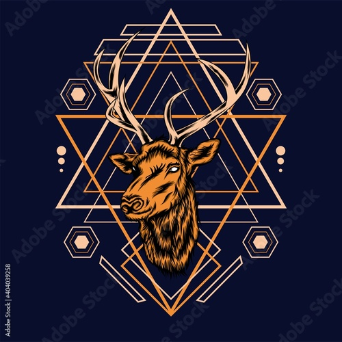 Deer head with sacred geometry pattern on black background-vector retro illustration
