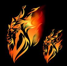 Markhor Mountain Goat And Burning Flames - Capra Falconeri Head With Fiery Decor Vector Design