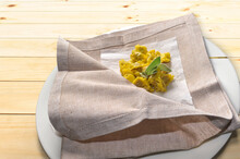 Ravioli Del Plin Typical Piedmontese Stuffed Pasta From The Langhe Seasoned With Butter And Sage And Parmesan, Traditionally Served In A Napkin