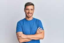Handsome Caucasian Man Wearing Casual Clothes Happy Face Smiling With Crossed Arms Looking At The Camera. Positive Person.
