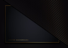 Abstract Template Dark Geometric Oblique With Golden Line Layer On Dark Background. Luxury Style. Frame Background.