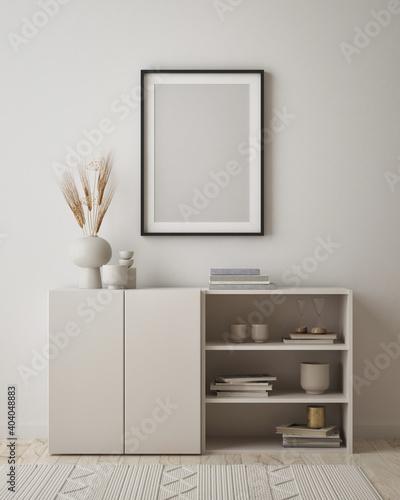 Canvas Print mock up poster frame in modern interior background, living room, Scandinavian st