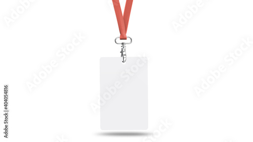 Fotografiet Corporate ID Card Mockup With Lanyard Mockup Front View
