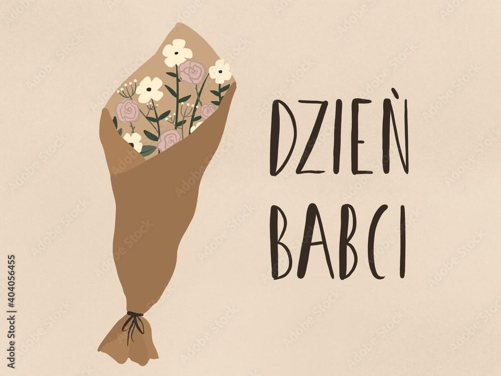 Fototapeta Ręcznie narysowana ilustracja, Laurka z bukietem kwiatów i tekstem po polsku Dzień babci w odcieniach brązu