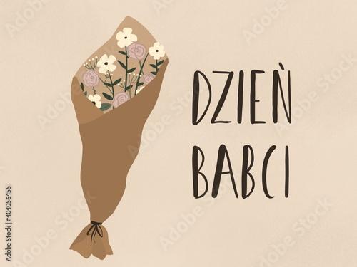 Ręcznie narysowana ilustracja, Laurka z bukietem kwiatów i tekstem po polsku Dzień babci w odcieniach brązu  - fototapety na wymiar