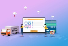 Concept Of Online Shopping, Young Man And Woman Are Standing In Front Of A Big Screen Of Laptop And Discuss To Find The Best Deal From Website To Order A New Shoe In Pink And Blue Color Background.