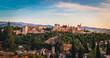 Sunset view over Granada and Moorish Alhambra in Spain