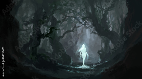 Obraz na plátně Angel in the quiet primeval forest, digital painting.