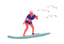 People At Beach. Cartoon Woman Surfing. Isolated Young Female Standing On Surfboard And Flying Seagulls. Summer Vacation At Ocean And Recreation On Seashore. Water Sport Activity, Vector Illustration