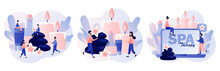 Spa Therapy Concept. Tiny People Relaxing. Beauty Procedure, Wellness Treatment And Body Care. Accessories For Relaxing Atmosphere, Candles, Aroma Oils, Hot Stones. Modern Flat Cartoon Style. Vector