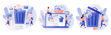 Delete Concept. Tiny People Deleting Data And Move Unnecessary Files To The Trash Bin. Modern Flat Cartoon Style. Vector Illustration On White Background