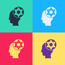 Pop Art Orthodox Jewish Hat Icon Isolated On Color Background. Jewish Men In The Traditional Clothing. Judaism Symbols. Vector.
