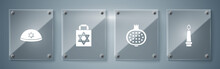 Set Burning Candle, Pomegranate, Shopping Bag With Star Of David And Jewish Kippah. Square Glass Panels. Vector.