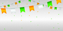 India Independence Day And Republic Day Concept Greeting Background On Transparent Grid With Tricolor Confetti. Decorative Elements For National Day Of India.