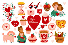 Valentine's Day Cute Elements Set. Childish Print For Cards, Stickers, Apparel And Banner Design