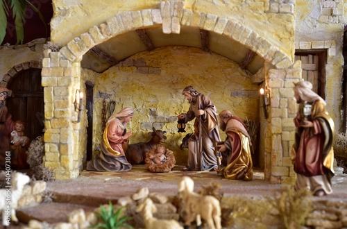 Weihnachtskrippe orientalisch, Krippe, Weihnachten, heilige Familie, heilige dre Wallpaper Mural
