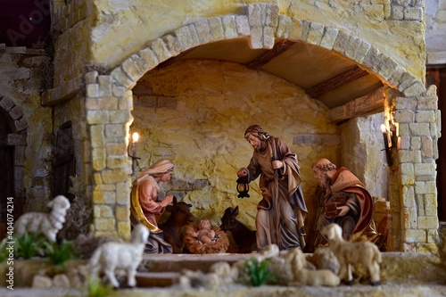 Weihnachtskrippe orientalisch, Krippe, Weihnachten, heilige Familie, heilige dre Fototapet