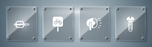Set Metallic Screw, Bicycle Head Lamp, Parking And Pedal. Square Glass Panels. Vector.