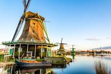 Zaanse Schans Windmills In Holland