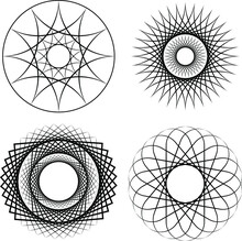 Set Of Black Geometric Ornaments Over White Background. Design Element For Frame, Logo, Tattoo, Sign, Symbol, Web Pages, Prints, Posters, Pattern And Abstract Background