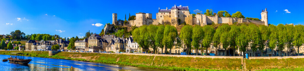 Travel in France - panoramic view of Chinon town with royal castle. Famous castles of Loire valley