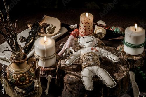 Fototapeta Thematic still life: Voodoo magic