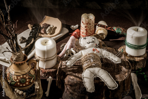 Fotografie, Obraz Thematic still life: Voodoo magic