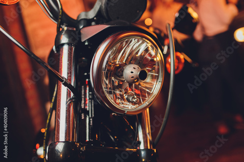 Foto Detail on the headlight of a classic motorcycle.