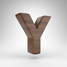 Letter Y Uppercase On White Background. Dark Oak 3D Rendered Font With Brown Wood Texture.