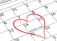 Valentine's Day I Love You Calendar Sheet With Heart