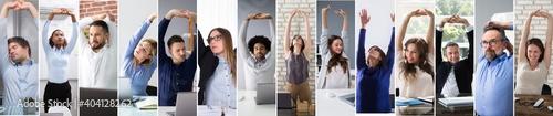 Obraz Business Team Stretching At Workplace - fototapety do salonu