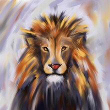 Lion Abstract Oil Painted Portrait, Animal T-shirt Print