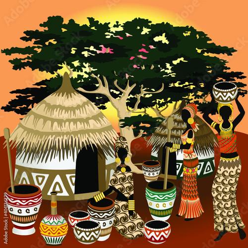 African Life Scenery, village, huts, women and wild animals on Sunset Vector Art © BluedarkArt TheChameleonArt #404136279