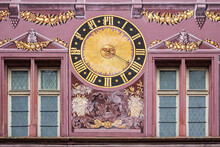 Architectural Detail Of Old Hotel De Ville (Town Hall) On Place De La Reunion. The Paintings Depict The Vices And Virtues. The Building Dates From 1552. Mulhouse, Alsace, France.