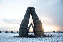 Panorama Winter View Of Monument Arches Basalt Blocks Art Stone Construction Arctic Henge In Raufarhofn North Iceland